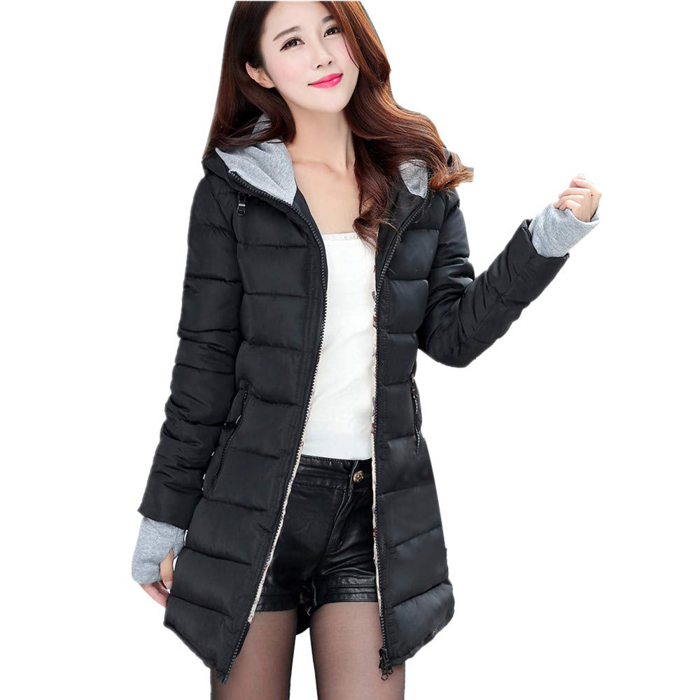 Women Winter Long Sleeve Cotton-Padded Oversized Coats with Gloves Pocket Zipper Long Slim Jacket Hoodies Overcoat Edenun