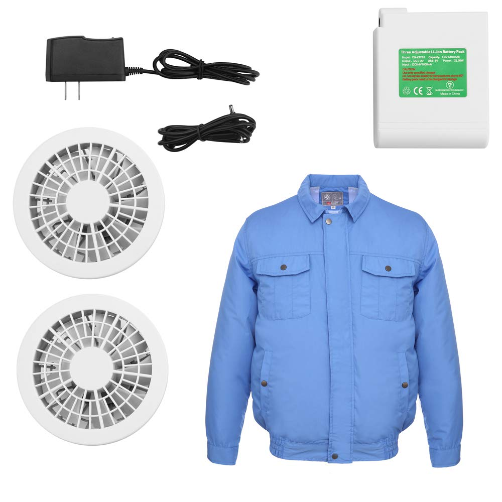 ITIEBO Cooling Clothes & Workwear with Fan & battery pack for man (M, Blue workwear) by ITIEBO (Image #1)