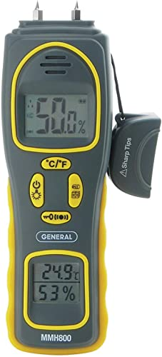 General Tools MMH800 4-In-1 Combo Moisture Meter, Pin Type or Pinless, Temperature and Humidity, Dual LCD Displays, Audible Alarm Renewed