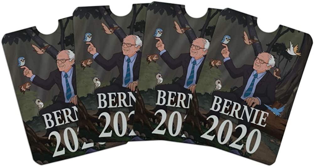 Bernie Sanders 2020 with Birds In A Forest Retro Cartoon Credit Card RFID Blocker Holder Protector Wallet Purse Sleeves Set of 4