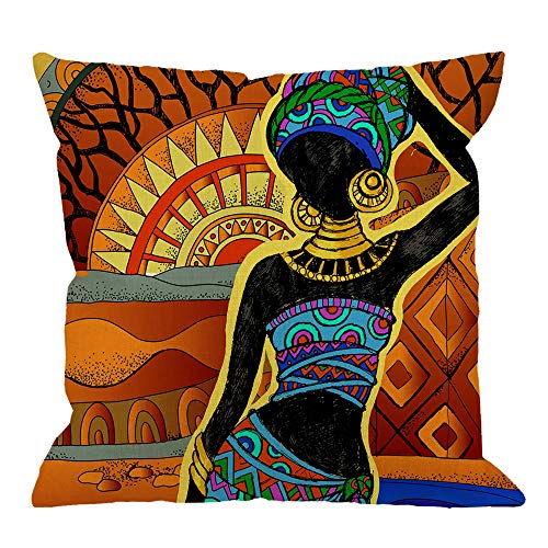 African Pillowcase - HGOD DESIGNS African Square Pillow Cushion Cover,African Women Cotton Linen Cushion Covers Home Decorative Throw Pillowcases 18x18inch,Yellow,Brown