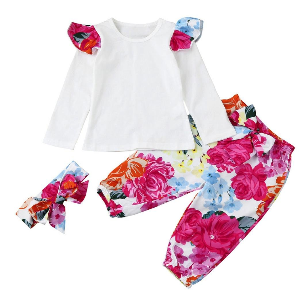 Deloito--Baby Clothes Set for 0-2 Years Old, Baby Girls Clothing Sets Toddler Infant Baby Kids Ruched Long Sleeve Tops+Floral Pants+Bow tie Headband Set 3PCS Outfits Daily