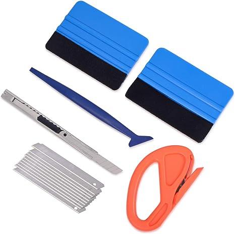 Winjun Auto Vinyl Wraps Set Autofolien Werkzeug Mit Micro Rakel Filzrakel Folienrakel Folienschneider 9mm Handwerksmesser Mit 10 Stk Ersatzklingen Baumarkt