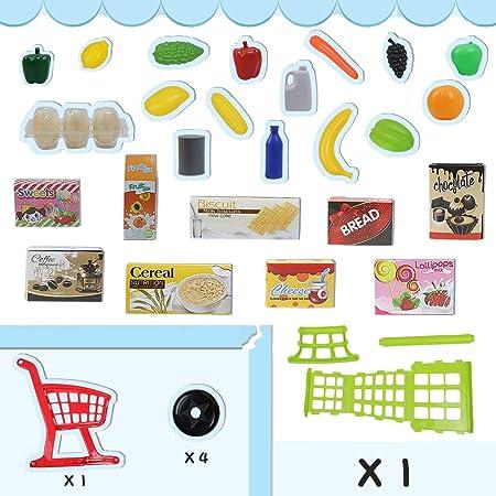 Supermercado de Juguete Carro de la Compra Juguete Niño 3 4 5 6 Años con Frutas Vegetales y Alimentos Productos de Mercado y Comestibles Juego de rol Juguetes Educativos(27 Piezas)