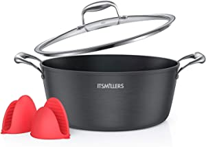 ItsMillers Ultra Nonstick Modern Hard-Anodized Stock Pot, 8 qt Induction Kitchen Cookware Dutch Oven with Silicone Oven Mitts,Dishwasher Safe,Oven Safe