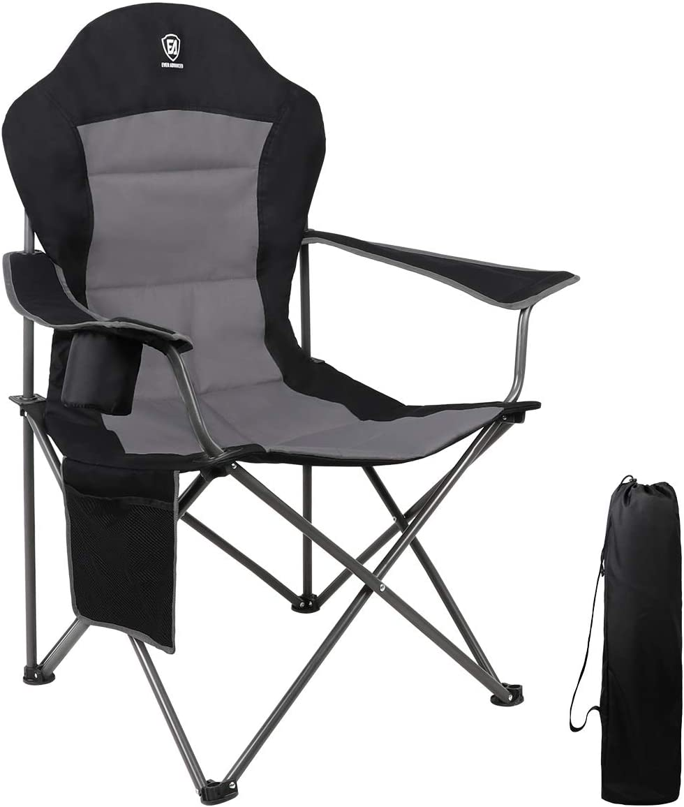 ARMOR CASTLE Portable Oversized Camping Chair Heavy Duty 500 LBS Padded Quad Folding Lawn Chair with Armrest Cup Holder Lumbar Back for Outdoor
