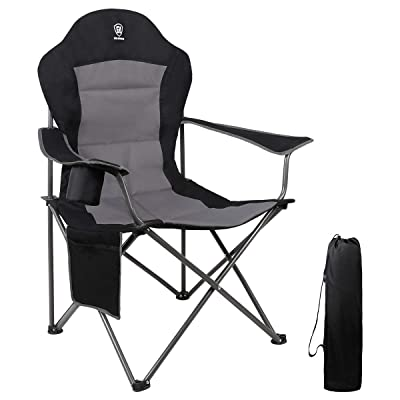 EVER ADVANCED Oversized Padded Quad Arm Chair Collapsible Steel Frame High Back Folding Camp Chair