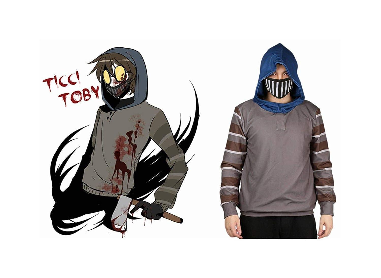 Mesky Sudadera con Capucha Unisex Hoodie Creepypasta Manga Larga Invierno Navidad Poli/éster Cosplay de Ticci Toby Custom Made Gris
