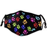 Unisex Reusable Colorful Dog Paw Prints Protection from Dust,Other Air Pollution Face Veil for Men Women Kids Black
