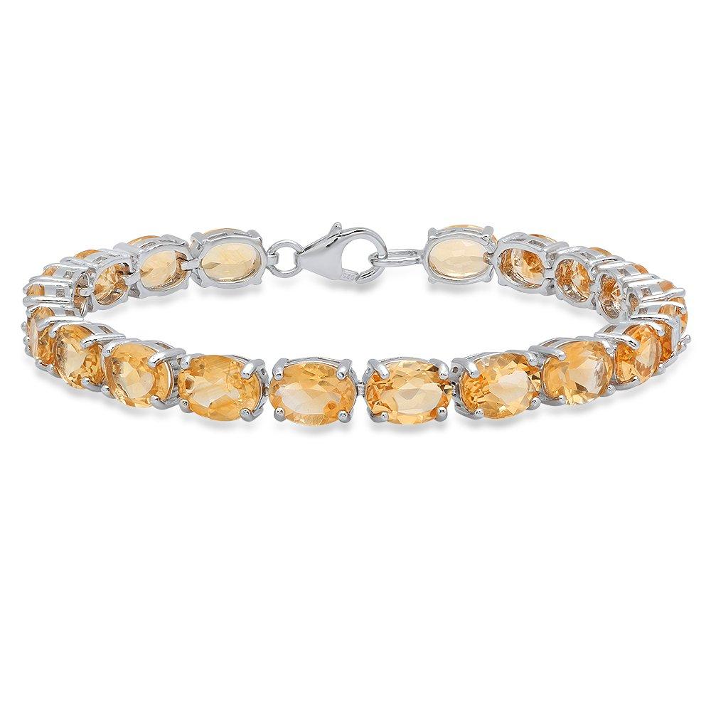 Sterling Silver 6X8 MM Each Oval Citrine Ladies Tennis Bracelet