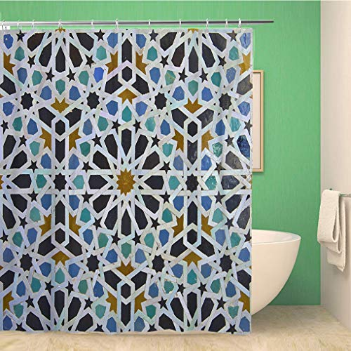 Awowee Bathroom Shower Curtain Blue Zellige Moroccan Pattern in Riad FES Morocco Green 66x72 inches Waterproof Bath Curtain Set with Hooks (Best Riads In Morocco)