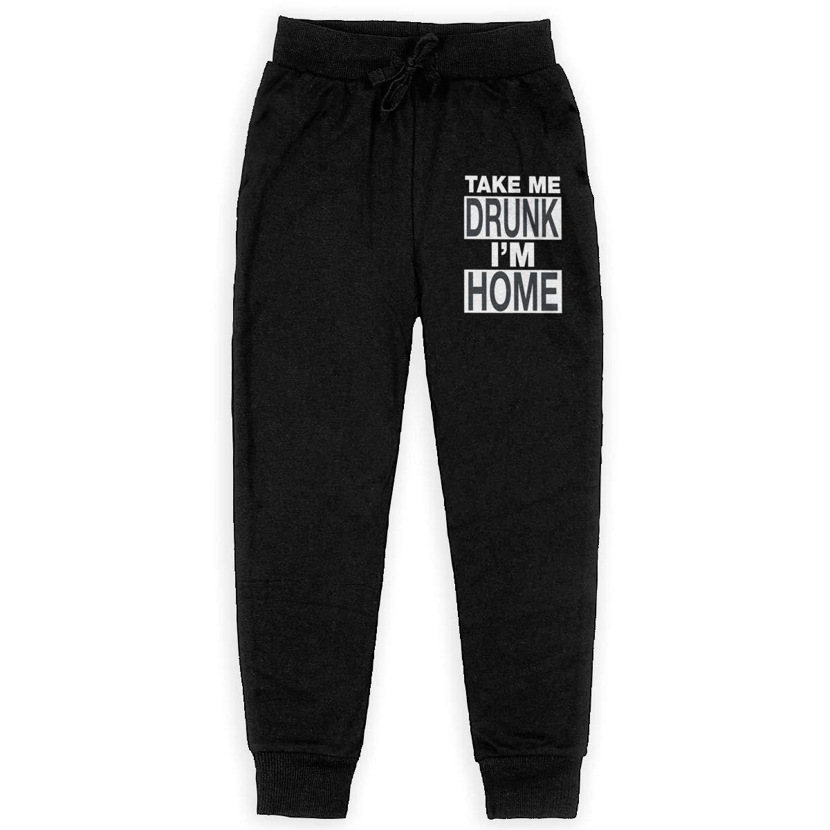 Dunpaiaa Take Me Drunk Im Home Boys Sweatpants,Joggers Sport Training Pants Trousers Black