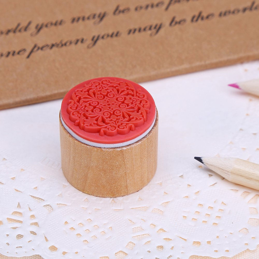 DECORA 6pcs Round Wood Rubber Stamp for School Teachers English Toy Stamp