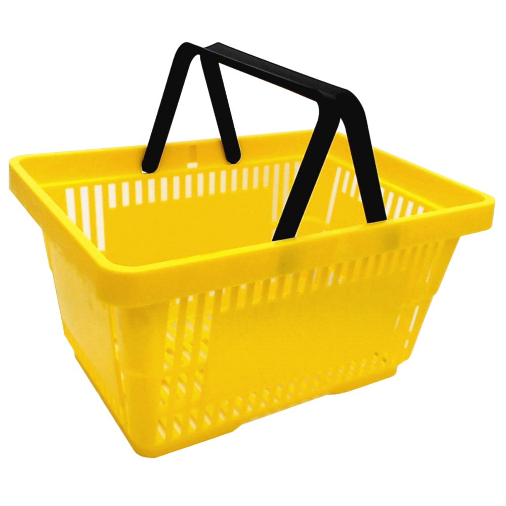 1 Einkaufskorb in gelb mit Zwei Tragegriffe aus Plastik 20 Liter Verkaufskö rbe stapelbar gebar