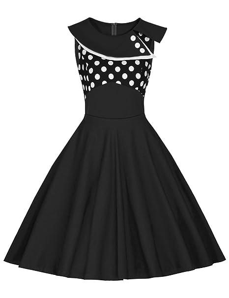 Là Vestmon Vestido de cóctel retro para mujer Swing Vestido de Rockabilly Falda plisada Vestido de