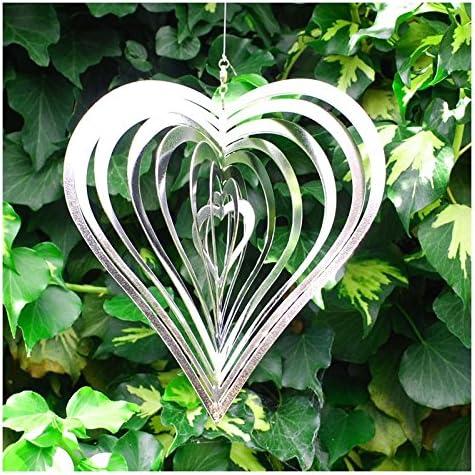 3D Heart Wind Spinner Reflective Stainless Steel Twister Garden Ornament Love