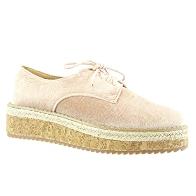 d428718979a9cc Angkorly - Damen Schuhe Derby-Schuh Espadrilles - Plateauschuhe - Blumen -  Bestickt - Kork