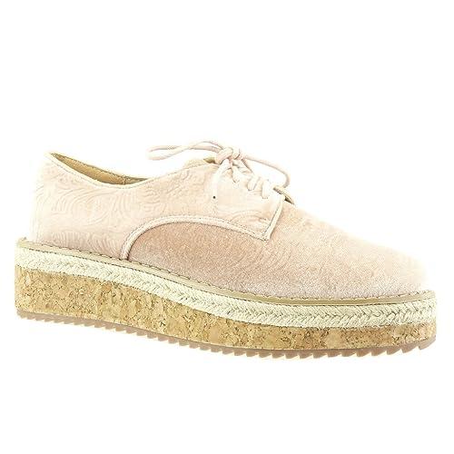 Angkorly - Zapatillas Moda Zapato Derby Alpargatas Plataforma Mujer Flores Bordado Corcho Plataforma 5 CM: Amazon.es: Zapatos y complementos
