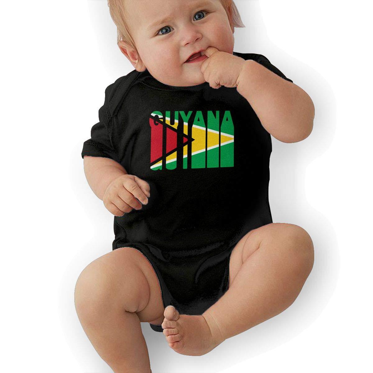 Mri-le2 Toddler Baby Boy Girl Short Sleeve Organic Bodysuits Retro Guyana Flag Infant Romper Jumpsuit