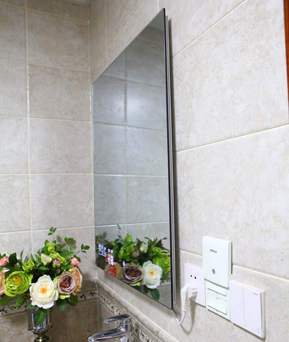 Yool WiFi Elegante Espejo De Baño, Pared-Montado Espejo Baño Baño WC Niebla Luz Espejo con Pantalla Táctil De HD Bluetooth Tiempo Pantalla Rápida Defogging ...
