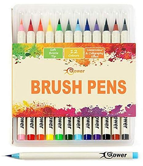 Bower Set Da 12 Pennarelli Brush Per Calligrafia Manga