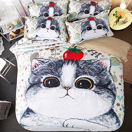 Deluxe Fat Cat Cotton Microfiber 3pc 90''x90'' Bedding Quilt Duvet Cover Sets 2 Pillow Cases Queen Size by DIY Duvetcover