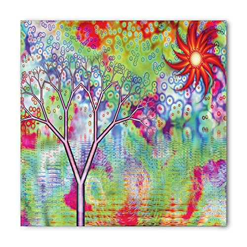 (Ambesonne Psychedelic Bandana, Abstract Lake Tree, Unisex Head and Neck Tie)