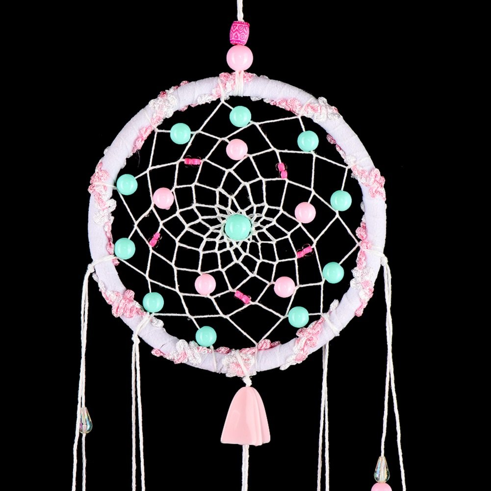YOUOR Colorful Handmade Dream Catcher Pink Wind Chimes Wall Hanging Ornnament Home Car Decoration