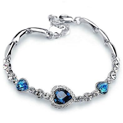 Rizilia Women 18K GP Swarovski Crystal Elements White Ear Gold&Silver Bracelet ZPDDXDq