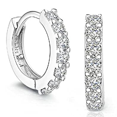 clearance, Platinum Filled sterling silver with Diamond Sparkly Crystal Hoop Earrings for Women One Pairs Earrings