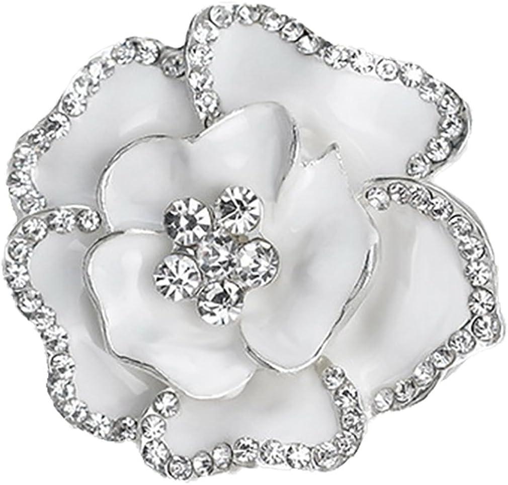 Yazilind Exquis Bride Mariage Pierres de Strass Alliage de Fleurs Roses Broche Corsagee Femmes Filles Accessoires Blanc