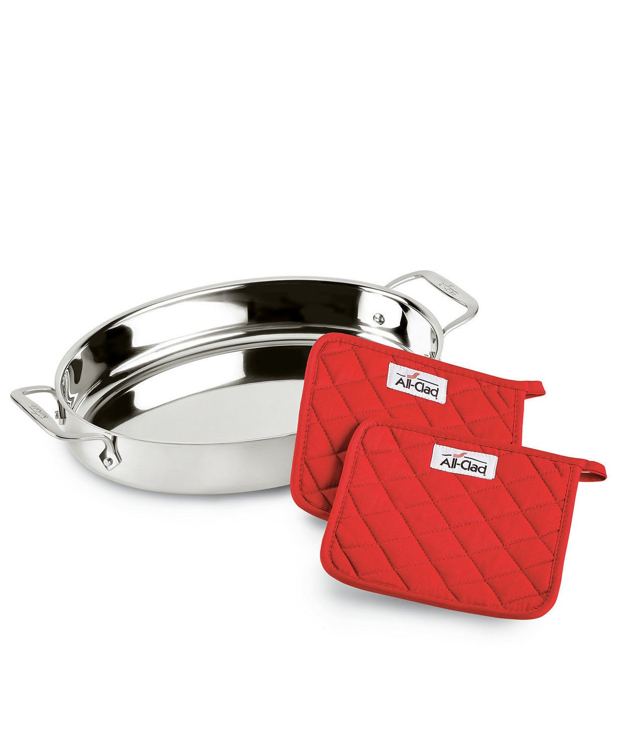 "All-Clad Stainless Steel 15"" Oval Baker with Pot Holders"