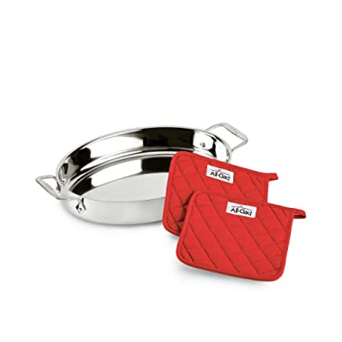 All-Clad Stainless Steel 15  Oval Baker with Pot Holders