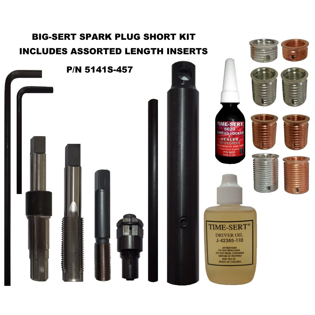 TIME SERT BIG SERT M14x1.25 SPARK PLUG KIT SHORT WITH ASSORTED INSERTS P n 5141S 457