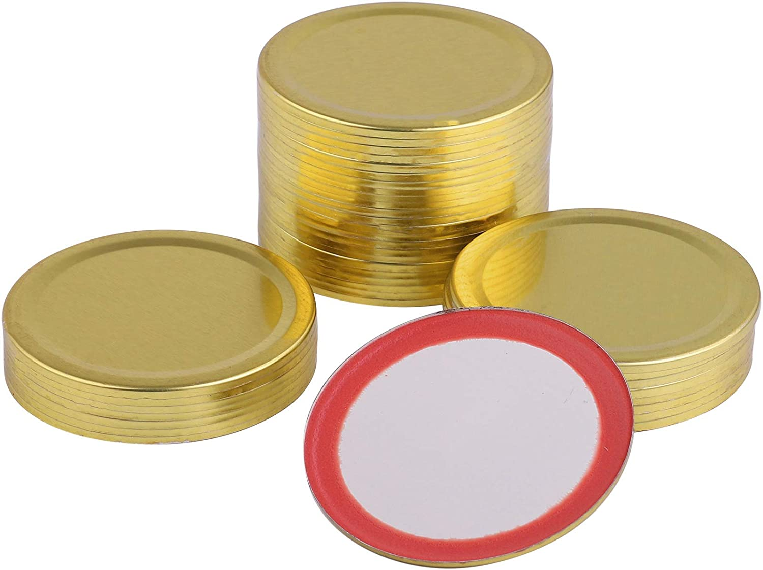 ADXCO 40 Pieces Regular Mouth Mason Jar Lids Band Tinplate Split-type Canning Jar Caps Food-grade Storage Caps Band with Silicone