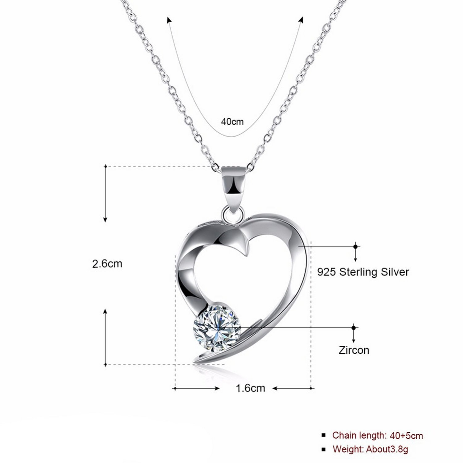 CS-DB Silver Necklaces Link Chain Heart Chain Charm Pendants