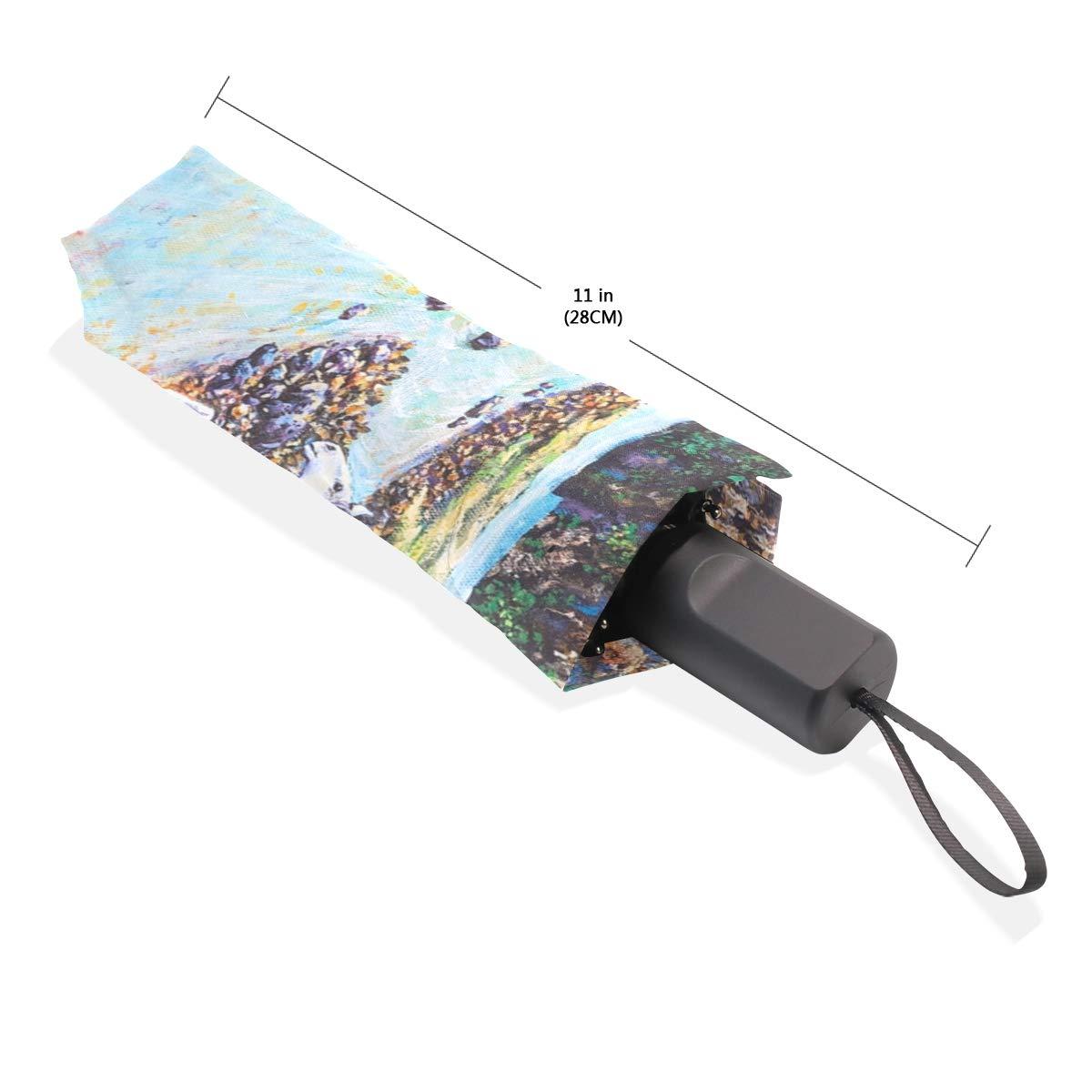 Isaoa Automatique Voyage Parapluie Pliable Compact Parapluie Chevaux dans la for/êt Coupe-Vent Ultra l/éger Protection UV Parapluie pour Homme ou Femme