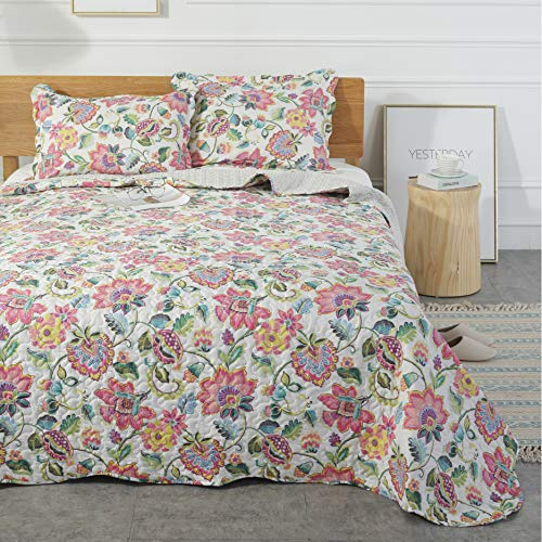 Mohap Floral Pattern 3 Pieces Queen Size Hypoallergenic Printed Quilt for All Season Vintage Floral Pattern