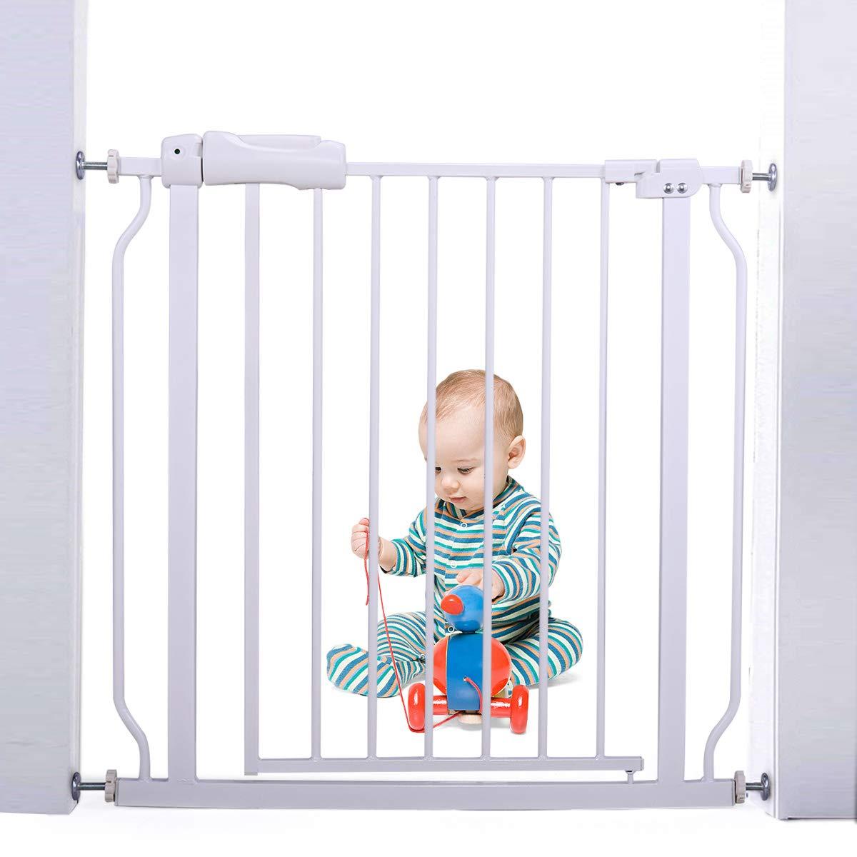 JAXPETY Baby Safety Gate Door Walk Through Toddler Child Pet Metal Easy Locking System