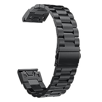 DIPOLA Reloj de Respuesto Banda de muñeca para Reloj Garmin Fenix 5S de Ajuste rápido de Acero Inoxidable de reemplazo rápido: Amazon.es: Deportes y aire ...