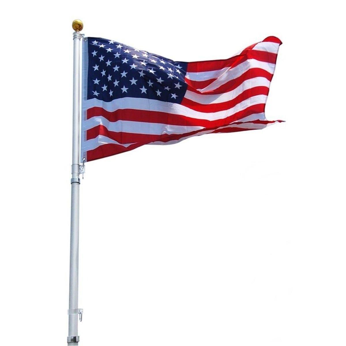PVC Sleeve Outdoor 25FT Aluminum Telescoping America Flag& Flagpole Kit US w/ Gold Ball Finial