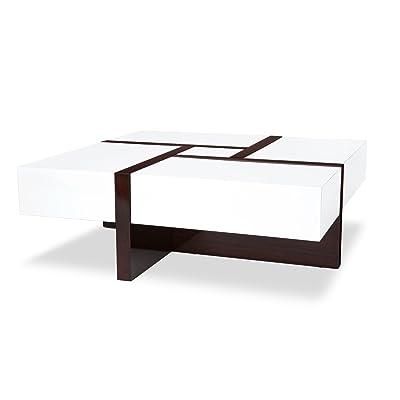 Zuri Furniture Mcintosh High Gloss Coffee Table With Storage   White Square