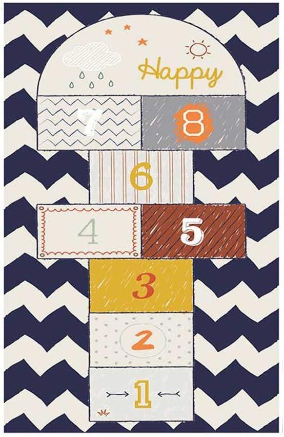 ゲームフロアマットカーペット、ベビー幼児クロール毛布、ベッドルームプレイルーム教室のためのキッズロングパッド屋内、矩形エリアラグを再生 (Color : Blue, サイズ : 120*160CM)