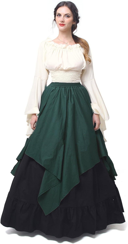 NSPSTT Womens Renaissance Medieval Costume Victorian Dresses Gown Scottish Dress