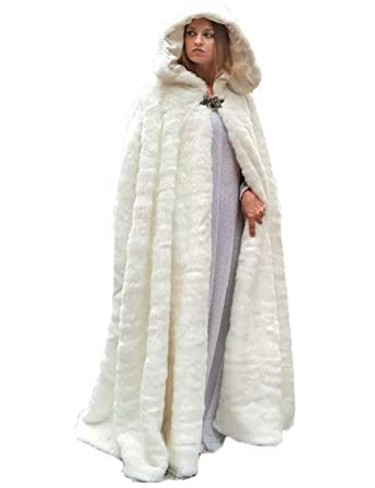 d2bd81ae3 Vicokity Hooded Bridal Long Faux Fur Cape Ivory White For Winter ...