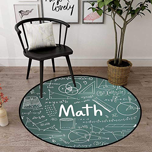 Circularity Floor mat Office Chair Round Indoor Floor mat Entrance Circle Floor mat for Office Chair Wood Floor Circle Floor mat Office Round mat for Living Room Pattern 2'7