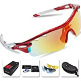 Victgoal Sports Sunglasses Polarized for Men and Women, 5 Interchangeable Lenses Tr90 Frame UV400 Protection Fishing Driving Running Golf Cycling Glasses