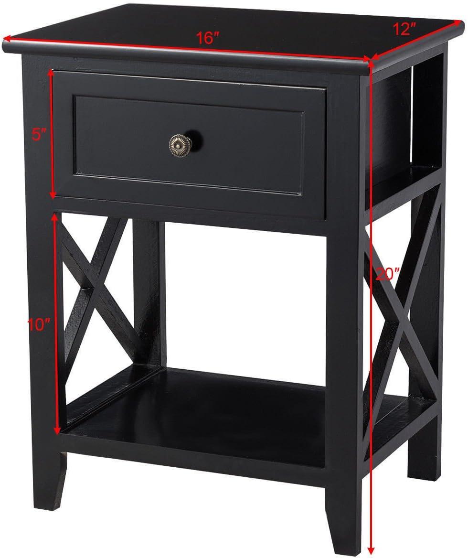 Black Nightstand End Beside Coffee Table W Drawer Storage Room Decor W Bottom Shelf