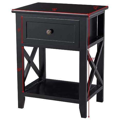 Amazon.com: Negro mesita de noche extremo al lado mesa de ...