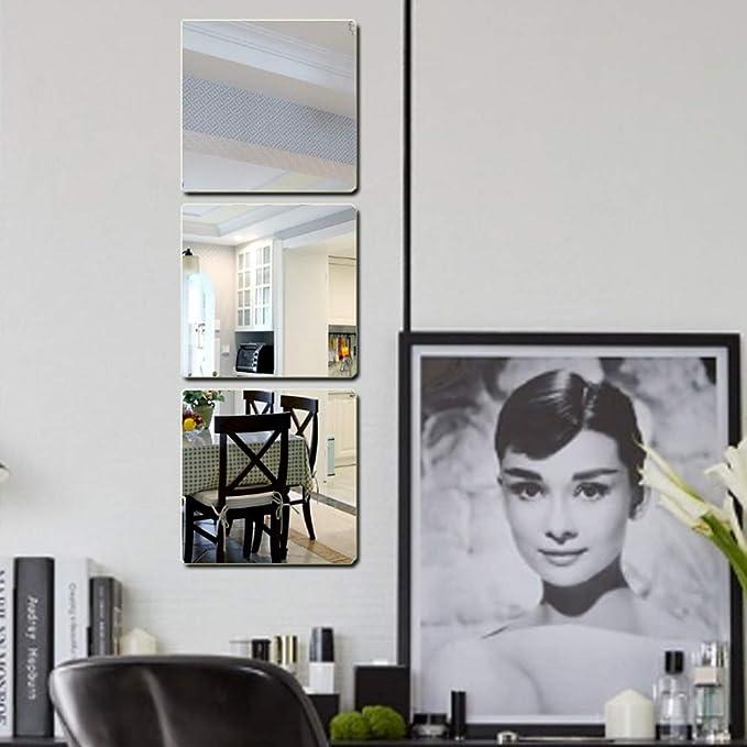 35x12inch Incassable Acrylique Miroir Auto-adh/ésif Decoration Mural Effet Miroir Am/éliorer la luminosit/é de la pi/èce-E 90x30cm JXBoos Carr/é Miroir Stickers muraux